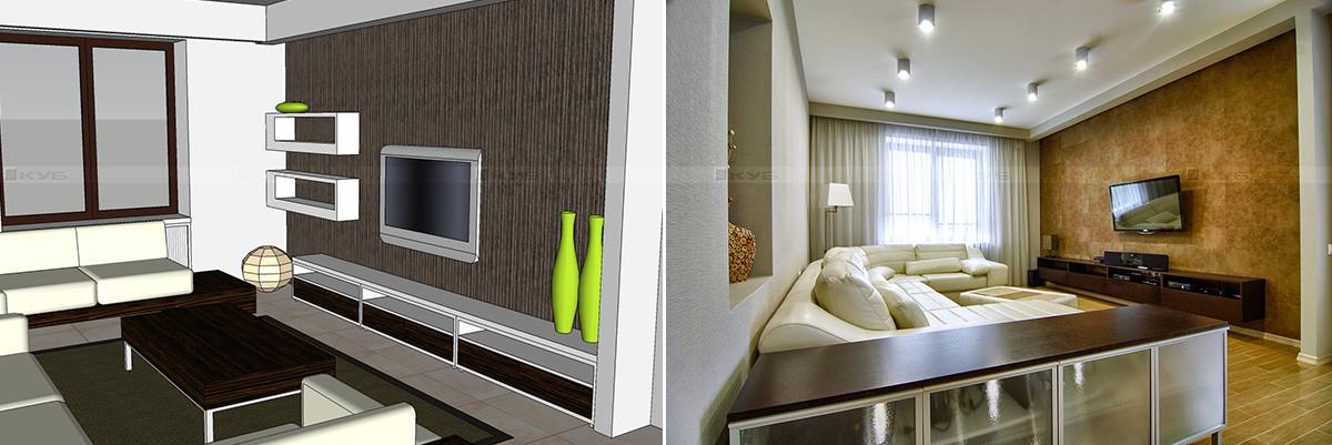 3D визуализация гостиной и фотография реализованного интерьера