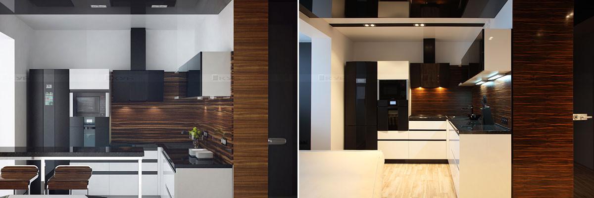 3D визуализация кухни и фотография реализованного интерьера