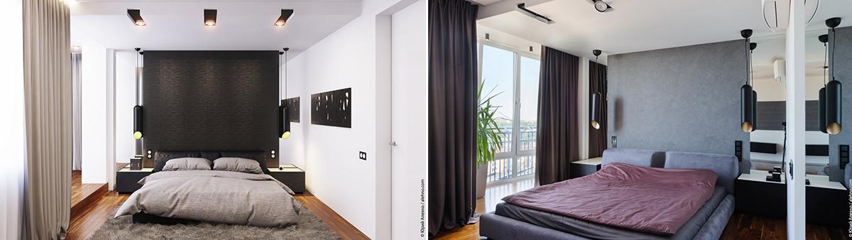 3D визуализация спальни и фотография реализованного интерьера